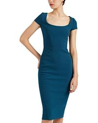 Zac Posen Stitch-detailed Crepe Sheath Dress - Blue