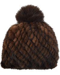 Barneys New York - Mink Knit Beanie - Lyst