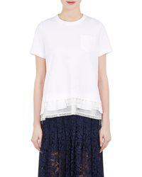 Sacai | Cotton & Lace Cocoon T | Lyst