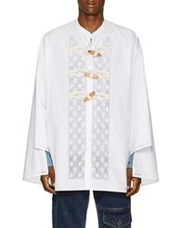 JW Anderson - Floral-embroidered Cotton Tunic Shirt - Lyst