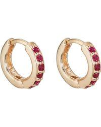 Bianca Pratt - Huggie Hoop Ruby Earrings - Lyst