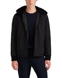 Theory - Vernon Sherpa-trimmed Tech-satin Coat - Lyst