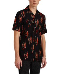 Givenchy - Logo Flame Georgette Bowling Shirt - Lyst