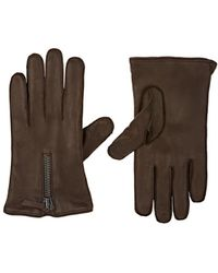 Barneys New York Cashmere-lined Leather Gloves - Brown