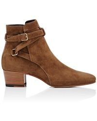 Saint Laurent - Suede Blake Buckle Boots - Lyst