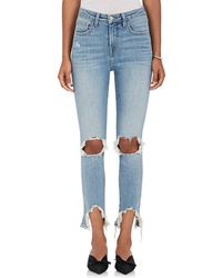 L'Agence - High Line Distressed Skinny Jeans - Lyst