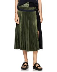 Sacai - Colorblocked Satin & Wool-blend Midi-skirt - Lyst