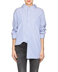 Balenciaga - Striped Cotton Poplin Button - Lyst