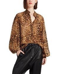 Nili Lotan Alameda Leopard-print Silk Blouse - Natural