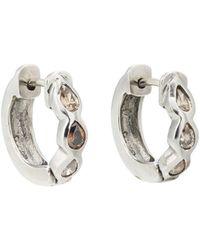 Zoe - Champagne Diamond Huggie Hoop Earrings - Lyst