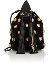 Saint Laurent - Anja Studded Velvet Bucket Bag - Lyst