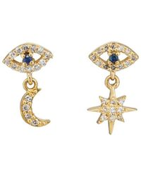 Ileana Makri Mismatched Eye Stud Earrings - Blue