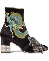 Gucci - Candy Embroidered Satin Ankle Boots - Lyst