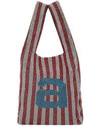 Alexander Wang Wanglock Striped Mini Shopper Tote Bag - Red