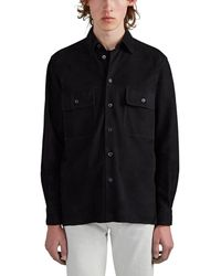 The Row Johnny Suede Shirt Jacket - Black