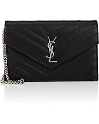 Saint Laurent - Monogram Leather Chain Wallet - Lyst