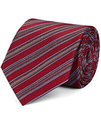 Isaia - Striped Textured Silk Necktie - Lyst