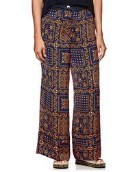 Sacai - Hawaiian-print Satin Wide-leg Trousers - Lyst