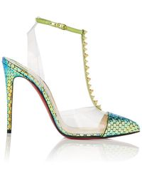 6f2b3ebff4f Christian Louboutin - Nosy Spikes Leather   Pvc Court Shoes - Lyst