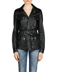 Saint Laurent Leather Safari Jacket - Black