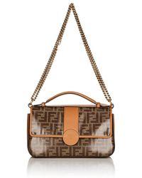 d5c12c6c9f14 Fendi - double F Coated Canvas   Leather Shoulder Bag - Lyst