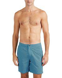 Onia Calder Geometric-print Swim Trunks - Blue