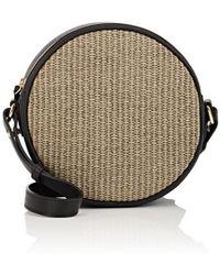 Barneys New York - Raffia & Leather Circle Crossbody Bag - Lyst