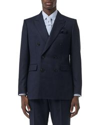Burberry Hopsack Double-breasted Suit - Blue