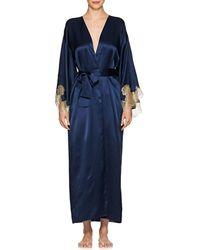 Gilda & Pearl Gina Lace-trimmed Silk Kimono - Blue