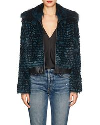 Barneys New York - Striped Fox Fur & Leather Bomber Jacket - Lyst