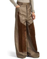 Rick Owens Suede-paneled Cotton Wide-leg Pants - Gray