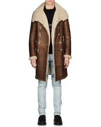 Balmain - Shearling Double-breasted Coat - Lyst
