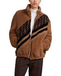 Fendi Logo Faux-shearling Jacket - Natural