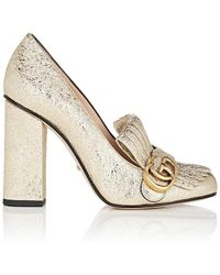Gucci | Marmont Metallic Leather Pumps | Lyst