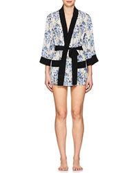 Barneys New York - Floral Silk Short Robe - Lyst