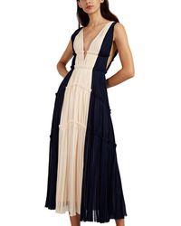 J. Mendel Colorblocked Silk Plissé Cocktail Gown - Blue