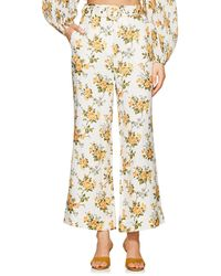Zimmermann - golden Floral Linen Crop Flared Trousers - Lyst