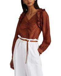 MASSCOB Shirley Floral Silk Blouse - Orange