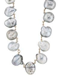 Samira 13 - Keshi Pearl & White Diamond Necklace - Lyst