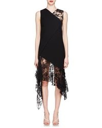 Givenchy Mixed-media Wool Midi-dress - Black