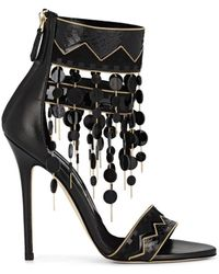 Brian Atwood Lalopez Confetti-fringed Leather Ankle-strap Sandals - Black