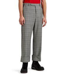 Thom Browne Grosgrain-trimmed Glen Plaid Cuffed Pants - Black