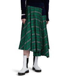 Cedric Charlier Plaid Plissé Asymmetric Skirt - Green
