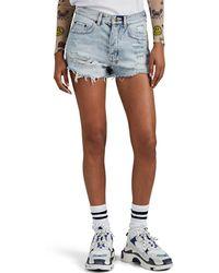 Ksubi Tongue N Cheek Distressed Denim Shorts - Blue