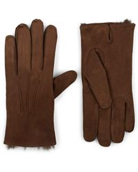 Barneys New York Fur-lined Suede Gloves