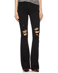 J Brand - Maria Distressed High-rise Flared Jeans - Lyst