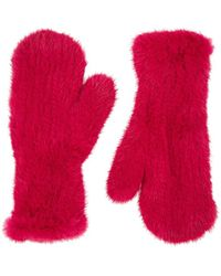 Barneys New York Knitted Mink Fur Mittens - Pink