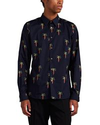 PS by Paul Smith Hands-&-tree Cotton Shirt - Blue