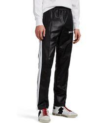 Palm Angels Logo-print Striped Leather Track Pants - Black