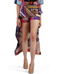 Chloé Skirt-overlay Paisley Silk Shorts - Pink